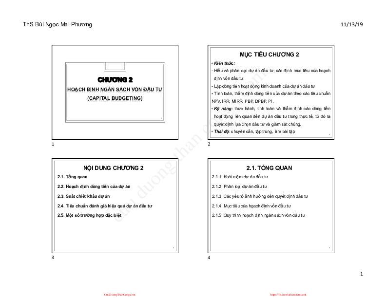 chương 2 qttcdn hoạch định ngân sách vốn đầu tư.pdf-Thư viện tài liệu, giáo trình, bài giảng, bài tập lớn, đề thi online  môn học Quản Trị Tài Chính Doanh Nghiệp  tác giả Bùi Ngọc Mai Phương  dhnganhang-0