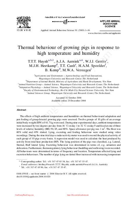 2005 - thermal behaviour of growing pigs in response to high t and humidity - nhom 9.pdf-Thư viện tài liệu, giáo trình, bài giảng, bài tập lớn, đề thi online  môn học Tập Tính Động Vật  dhnonglam-0