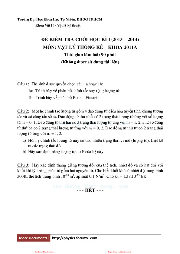 thi cuoi hoc ki - vat ly thong ke (khoa 2011a).pdf-Thư viện tài liệu, giáo trình, bài giảng, bài tập lớn, đề thi online  môn học Vật Lý Thống Kê  ĐH Khoa Học Tự Nhiên HCM